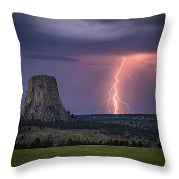 Showers And Lightning Throw Pillow