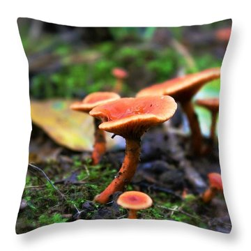 Throw Pillow featuring the photograph Shrooms by Candice Trimble