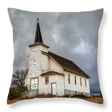 Shuttered Church In Cartwright North Dakota Throw Pillow