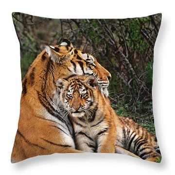 Siberian Tiger Mother And Cub Endangered Species Wildlife Rescue Throw Pillow