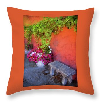 Throw Pillow featuring the photograph Sidewalk Floral In Brownsville by Thom Zehrfeld