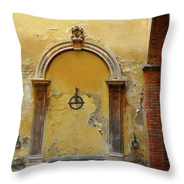 Sienna Fountain Courtyard Throw Pillow