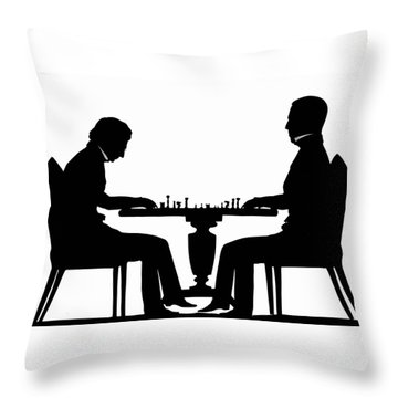 Silhouette Of Chess Players, Around 1845 Throw Pillow