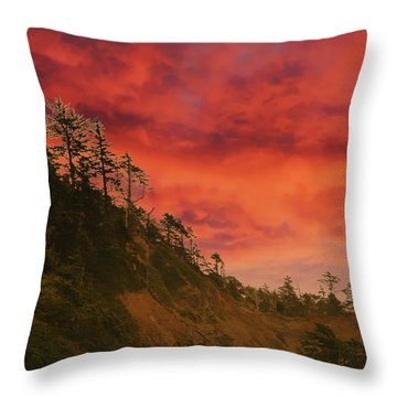 Silhouette Of Conifer Against  Seacoast  Throw Pillow