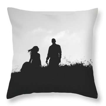 Silhouette Of Couple In Love With Wedding Couple On Top Of A Hil Throw Pillow