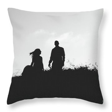 Silhouette Of Couple In Love With Wedding Couple On Top Of A Hill Throw Pillow