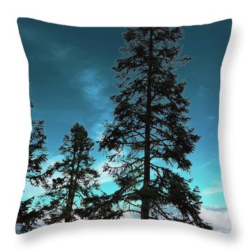 Silhouette Of Tall Conifers In Autumn Throw Pillow