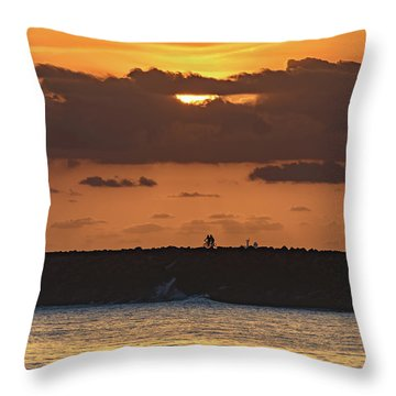Silhouettes, Breakwall And Sunrise Seascape Throw Pillow