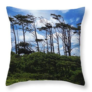 Silhouettes Of Wind Sculpted Krumholz Trees  Throw Pillow