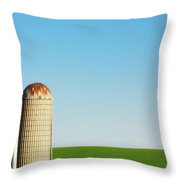 Silo On Blue And Green Throw Pillow