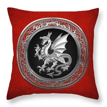 Silver Winged Norse Dragon - Icelandic Viking Landvaettir On Black And Silver Medallion Over Red  Throw Pillow