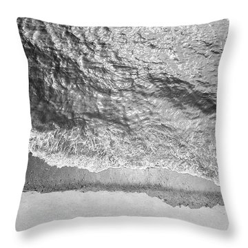 Simple Beach Wave Black And White Throw Pillow