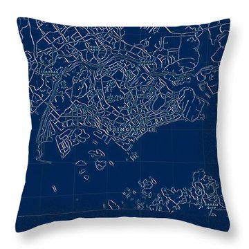 Singapore Blueprint City Map Throw Pillow