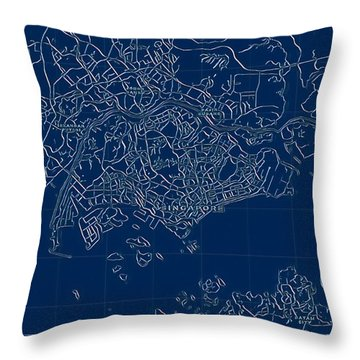 Singapore Blueprint City Map Throw Pillow