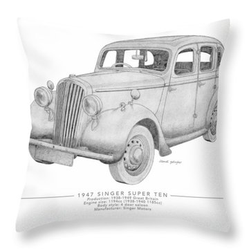 Singer Super Ten Saloon Throw Pillow