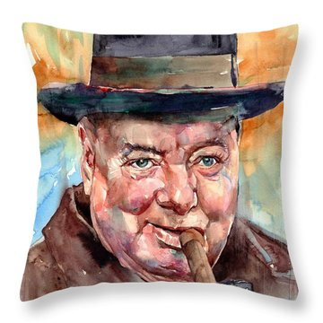 Sir Winston Churchill In His Hat Throw Pillow