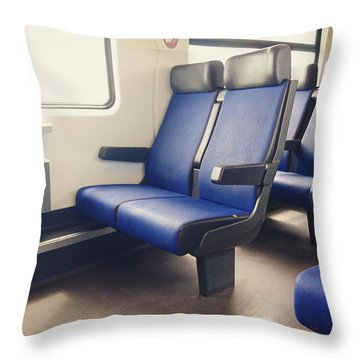 Sitting On Trains Throw Pillow