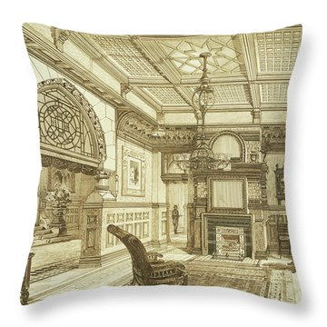 Sitting Room Of Bardwold, Merion Pa Throw Pillow