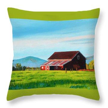 Skagit Valley Barn Throw Pillow