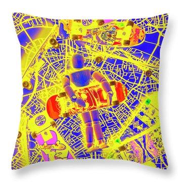 Skate City Throw Pillow