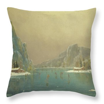 Skaters On A Lake, 19th Century Throw Pillow