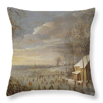 Skating Scene Or, Snow Effect Throw Pillow