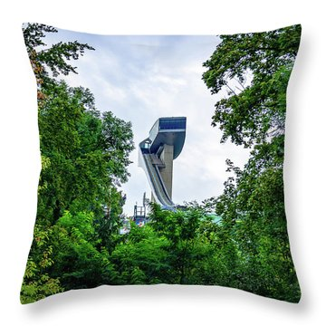 Ski Jump Tower Throw Pillow