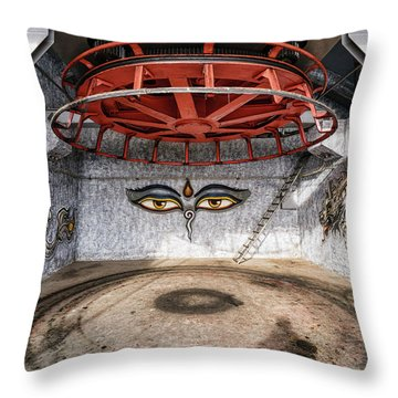 Ski Lift Turnaround Throw Pillow