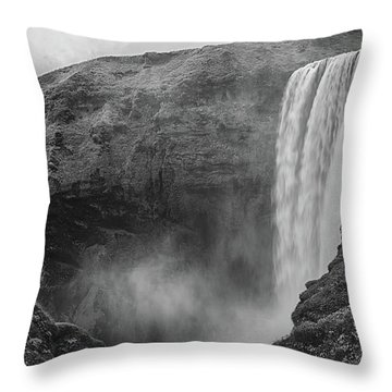 Skogafoss Iceland Black And White Throw Pillow