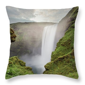 Skogafoss Waterfall Throw Pillow