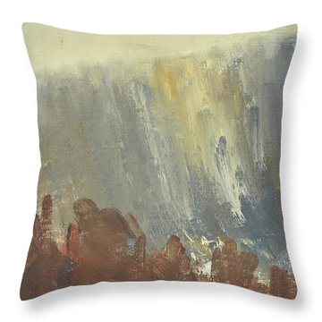 Skogklaedd Fjaellvaegg I Hoestdimma- Mountain Side In Autumn Mist, Saelen _1237, Up To 90x120 Cm Throw Pillow