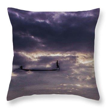 Sky Fisherman Throw Pillow