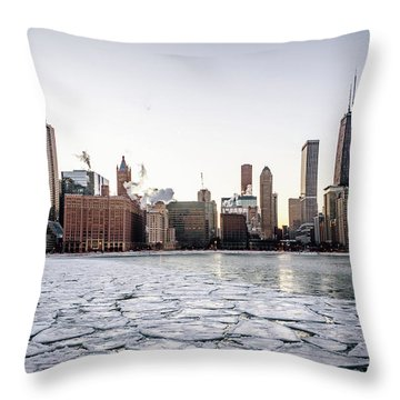 Skyline And Cracks In The Water Throw Pillow