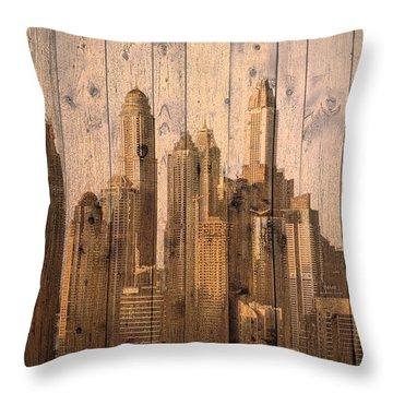 Skyline Of Dubai, Uae On Wood Throw Pillow