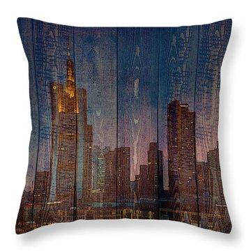 Skyline Of Frankfurt, Germany On Wood Throw Pillow