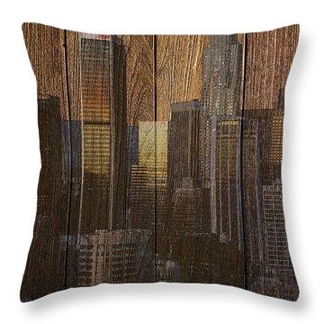Skyline Of Los Angeles, Usa On Wood Throw Pillow