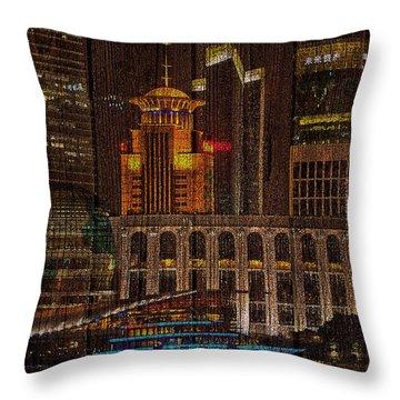 Skyline Of Shanghai, China On Wood Throw Pillow