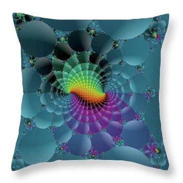 Slate Blue Fractal Throw Pillow