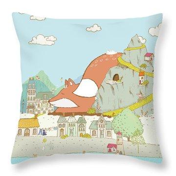 The Sleeping Fox Throw Pillow