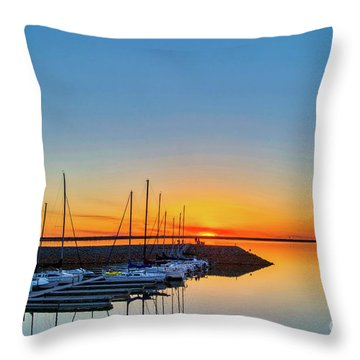 Sleeping Yachts Throw Pillow