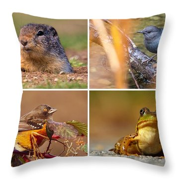 Small Animal Collage Throw Pillow