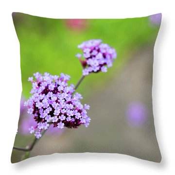 Throw Pillow featuring the photograph Small Purple Flowers by Scott Lyons
