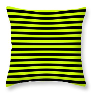 Small Slime Green And Black Horizontal Witch Stripes Throw Pillow