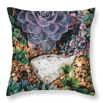 Small Succulent Garden Throw Pillow