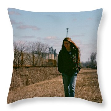 Throw Pillow featuring the photograph Small Town Girl by Carl Young