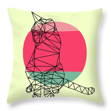 Smart Cat And Sunset Throw Pillow
