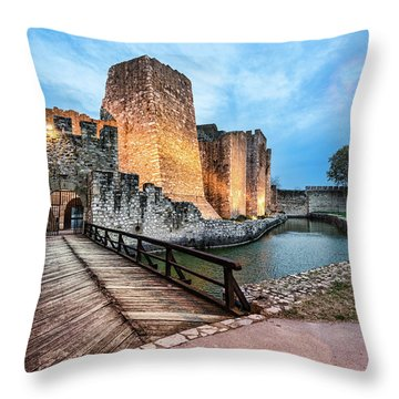 Smederevo Fortress Gate And Bridge Throw Pillow
