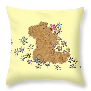 Throw Pillow featuring the painting Smelling The Flowers by Belinda Landtroop