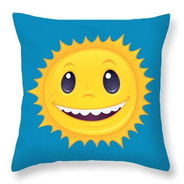 Smiley Sun Throw Pillow
