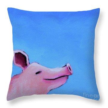 Smiling Pig Throw Pillow